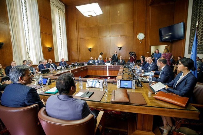Iran's Deputy Foreign Minister Ansari, Russia's special envoy on Syria Lavrentiev, Turkish Deputy Foreign Minister Onal and U.N. Special Envoy for Syria de Mistura attend a meeting during consultations on Syria in Geneva